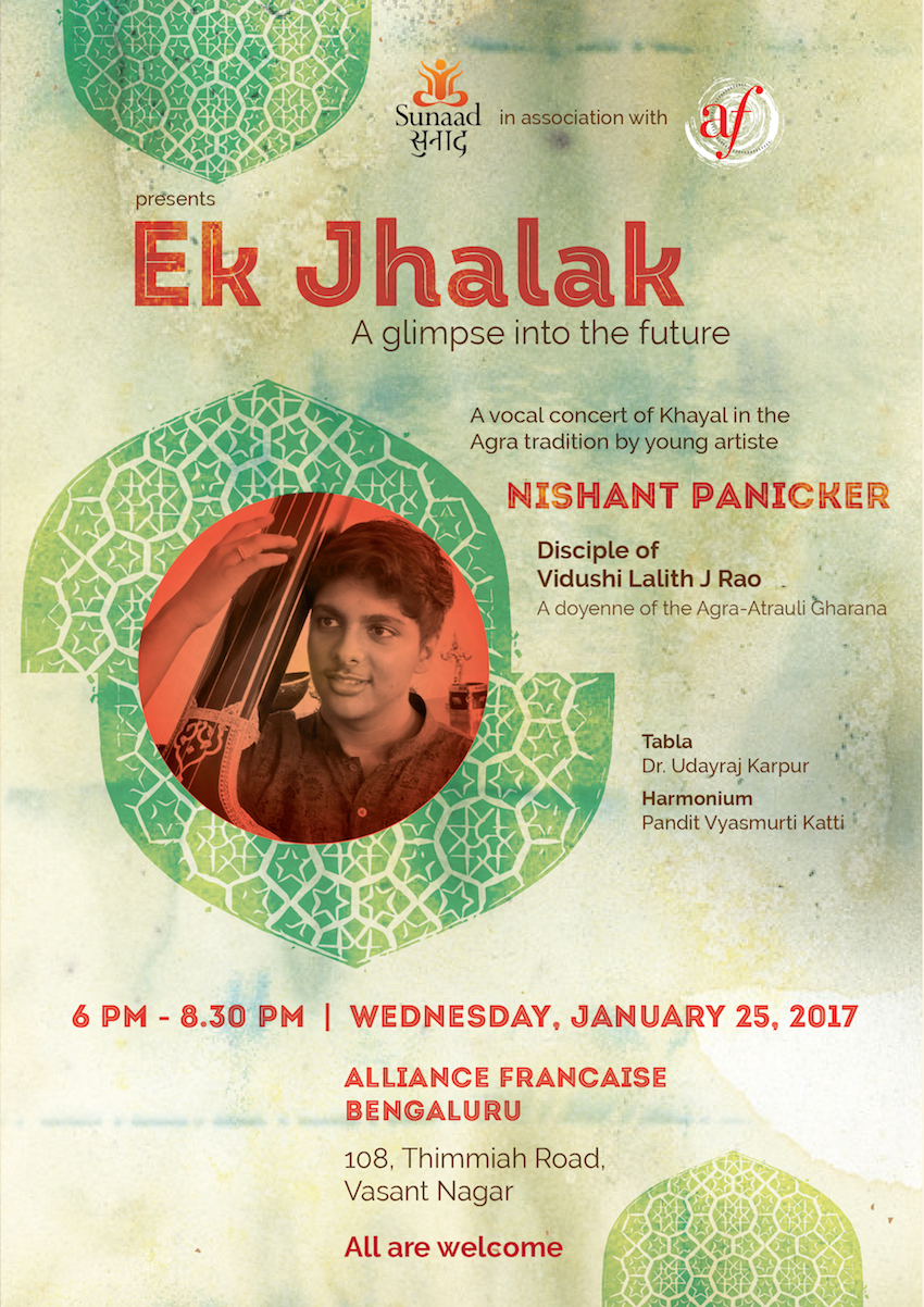 Hindustani vocal concert by Nishant Panicker